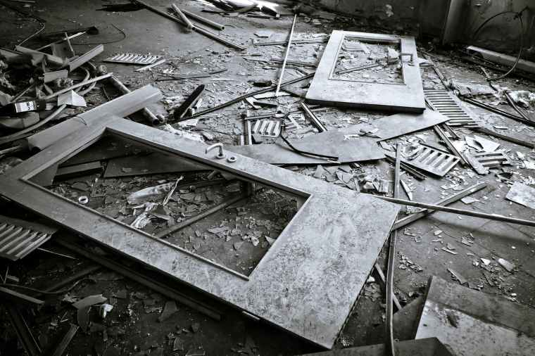 abandoned aged architecture black and white