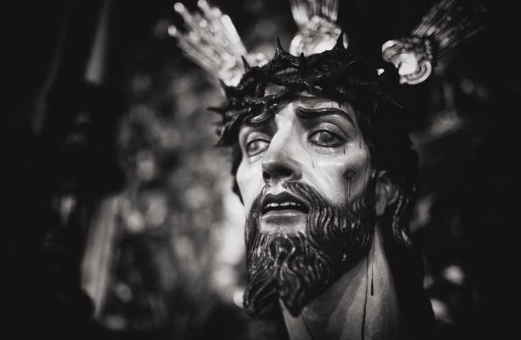 gray scale photography of jesus christ head