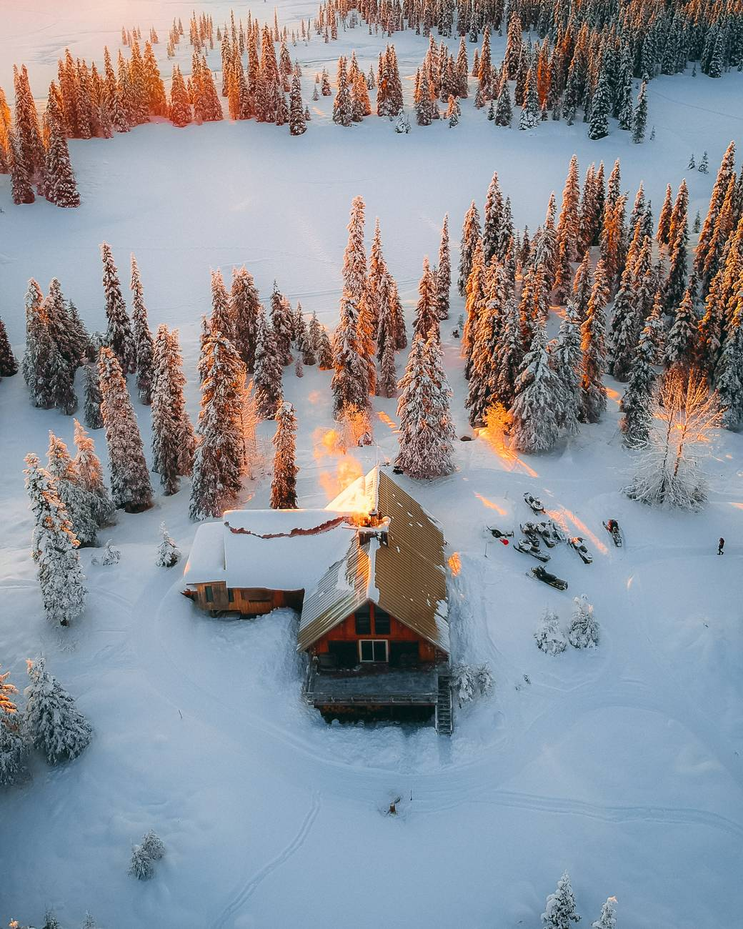 aerial photography of house field and trees covered with snow